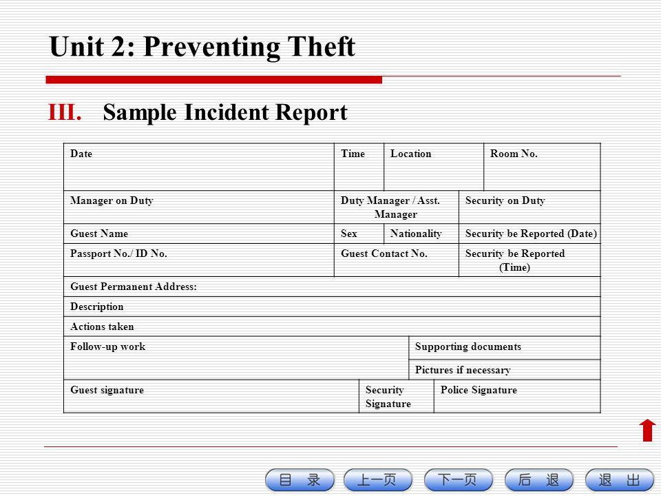 Unit 2: Preventing Theft III.Sample Incident Report DateTimeLocationRoom No.