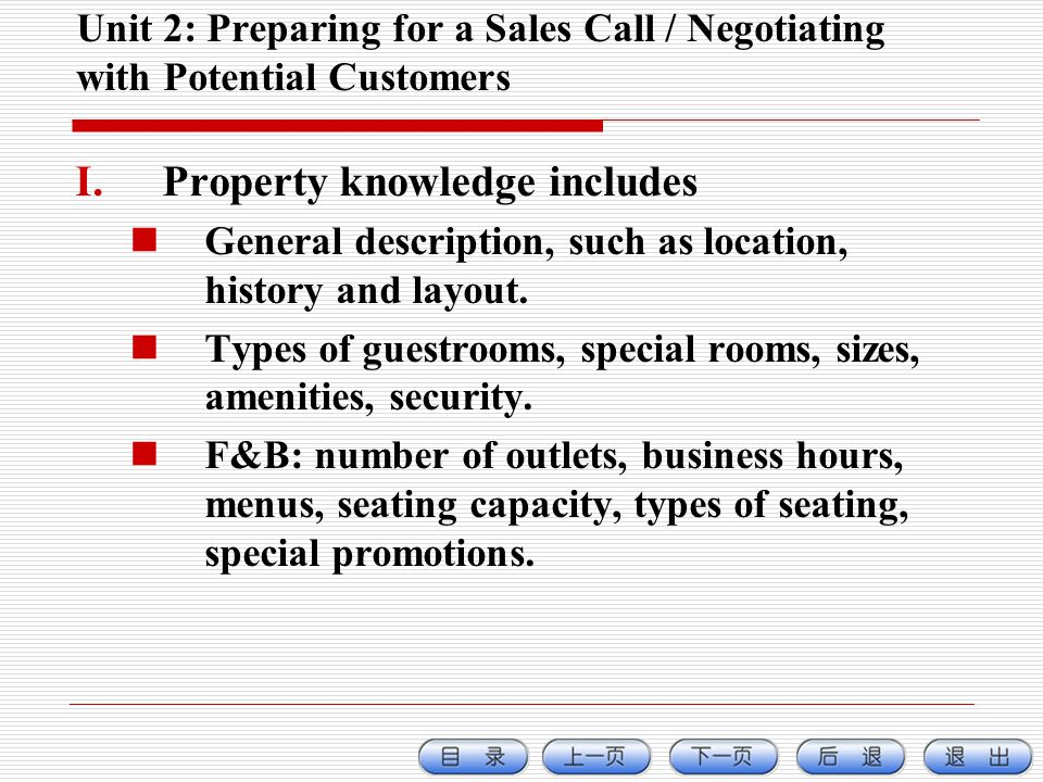 Unit 2: Preparing for a Sales Call / Negotiating with Potential Customers I.Property knowledge includes General description, such as location, history and layout.