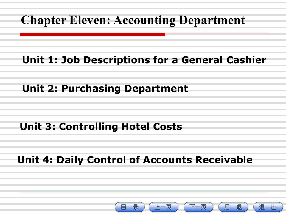 Chapter Eleven: Accounting Department Unit 1: Job Descriptions for a General Cashier Unit 2: Purchasing Department Unit 3: Controlling Hotel Costs Unit 4: Daily Control of Accounts Receivable