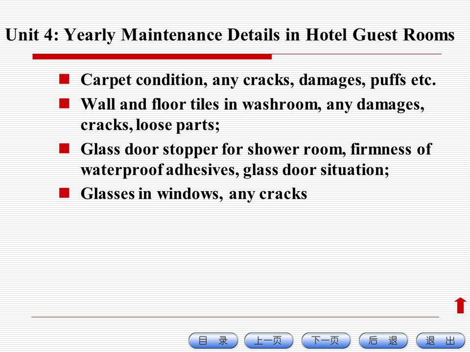 Carpet condition, any cracks, damages, puffs etc.
