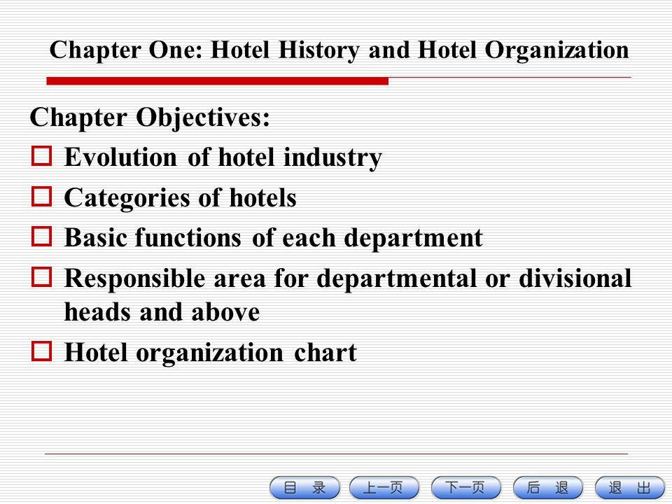 Chapter One: Hotel History and Hotel Organization Chapter Objectives: Evolution of hotel industry Categories of hotels Basic functions of each department Responsible area for departmental or divisional heads and above Hotel organization chart