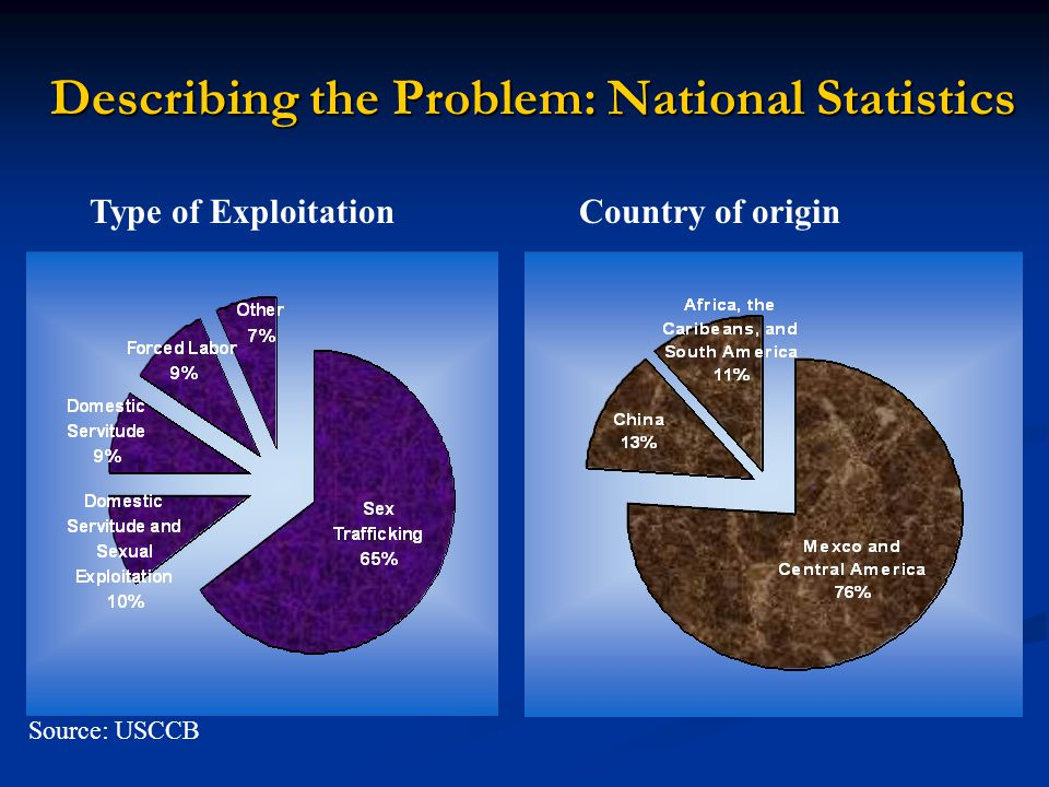 Describing the Problem: National Statistics Source: USCCB Type of ExploitationCountry of origin