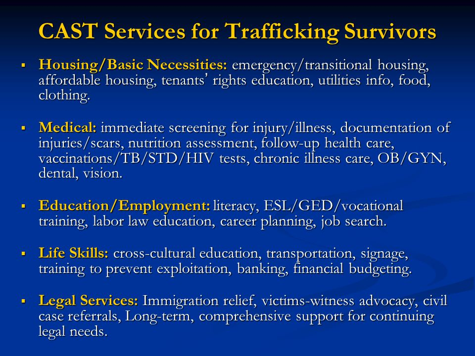 Training Overview 1.Identifying and Serving Child Trafficking Survivors 2.