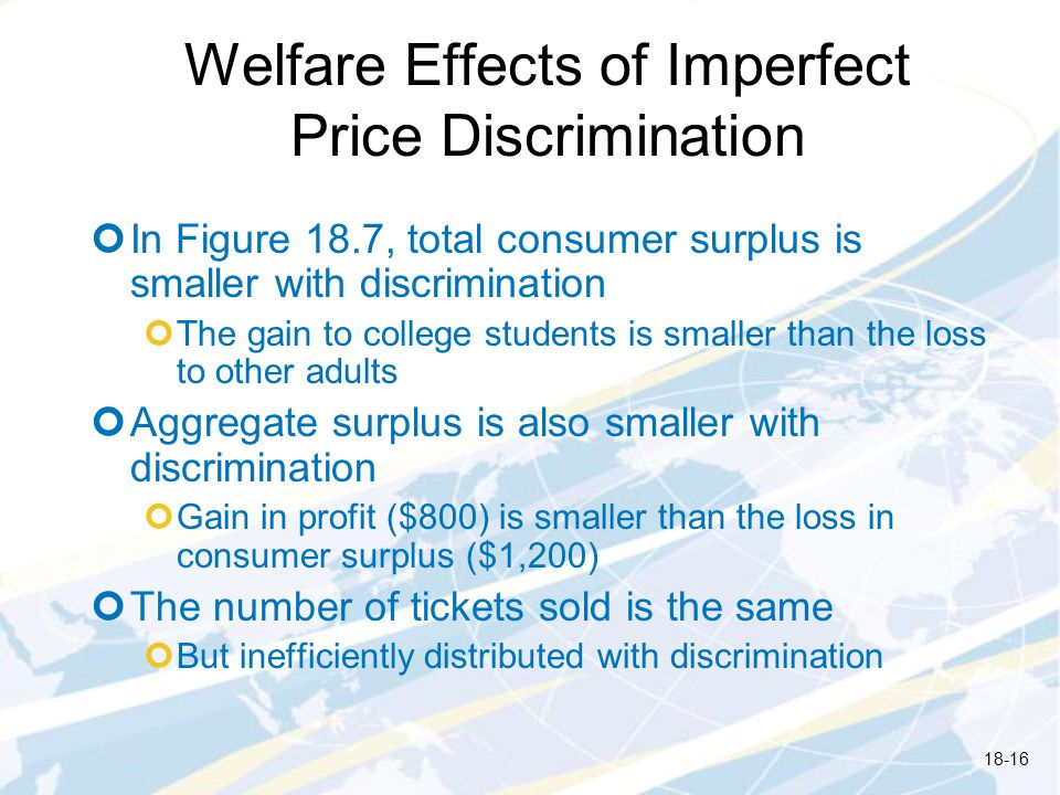 Welfare Effects of Imperfect Price Discrimination In Figure 18.7, total consumer surplus is smaller with discrimination The gain to college students is smaller than the loss to other adults Aggregate surplus is also smaller with discrimination Gain in profit ($800) is smaller than the loss in consumer surplus ($1,200) The number of tickets sold is the same But inefficiently distributed with discrimination 18-16