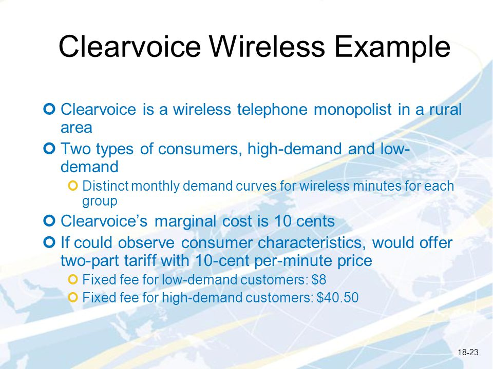 Clearvoice Wireless Example Clearvoice is a wireless telephone monopolist in a rural area Two types of consumers, high-demand and low- demand Distinct monthly demand curves for wireless minutes for each group Clearvoices marginal cost is 10 cents If could observe consumer characteristics, would offer two-part tariff with 10-cent per-minute price Fixed fee for low-demand customers: $8 Fixed fee for high-demand customers: $40.50 18-23