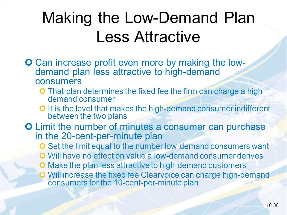 Making the Low-Demand Plan Less Attractive Can increase profit even more by making the low- demand plan less attractive to high-demand consumers That plan determines the fixed fee the firm can charge a high- demand consumer It is the level that makes the high-demand consumer indifferent between the two plans Limit the number of minutes a consumer can purchase in the 20-cent-per-minute plan Set the limit equal to the number low-demand consumers want Will have no effect on value a low-demand consumer derives Make the plan less attractive to high-demand customers Will increase the fixed fee Clearvoice can charge high-demand consumers for the 10-cent-per-minute plan 18-30