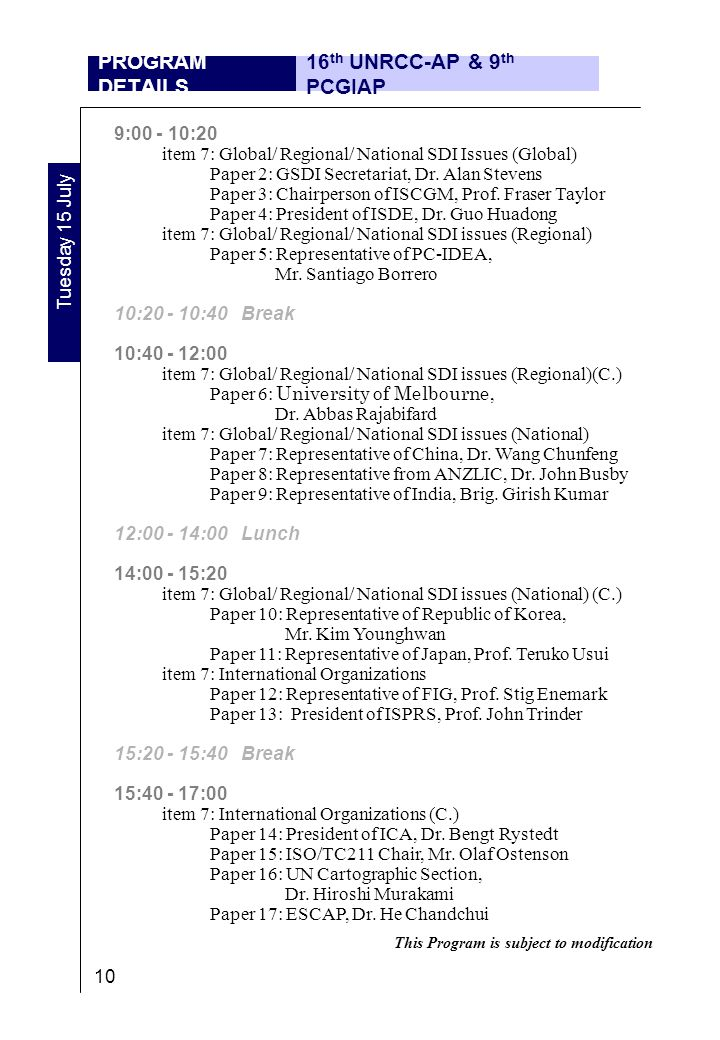 9:00 - 10:20 item 7: Global/ Regional/ National SDI Issues (Global) Paper 2: GSDI Secretariat, Dr.