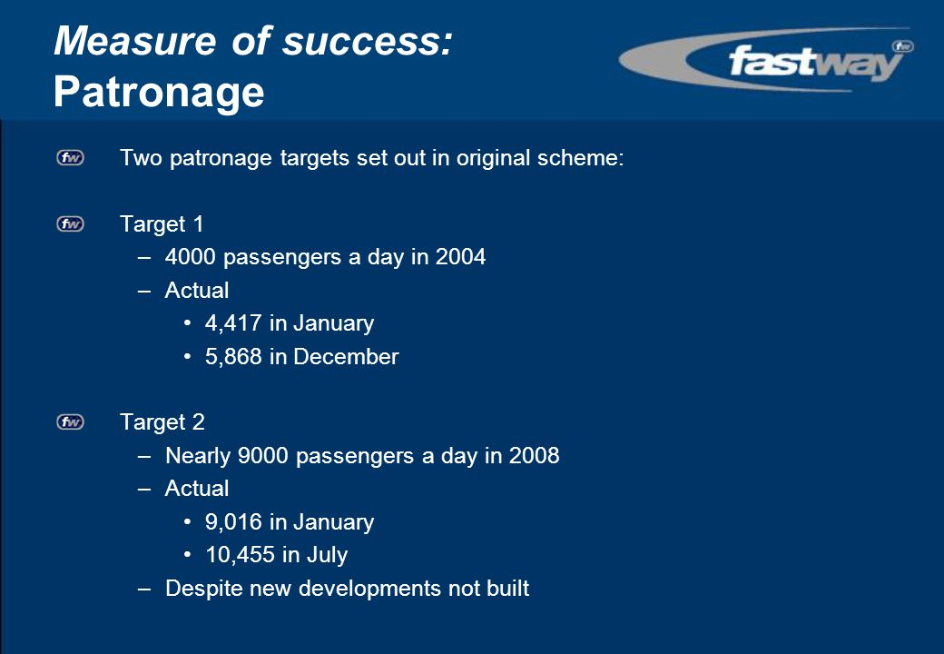 Measure of success: Journey time savings Many time savings –priority –new links –more frequent services Examples –Bewbush to town centre: 23% reduction –Broadfield to Crawley: 26% reduction –Town Centre to heart of industrial area: 50% reduction –Gatwick Airport to heart of industrial area: 26% reduction Protect time savings