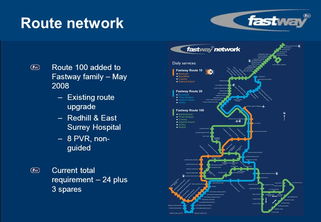 Route network Route 20 launched - August 2005 –Completion of phase 3 works –Three Bridges & Horley –5 PVR, every 20 mins at most times Route 10 increased to every 8 mins - May 2008 –11 PVR