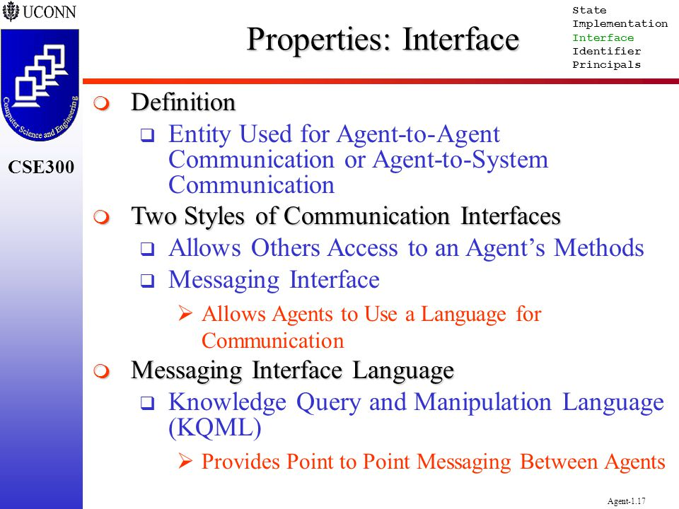 CSE300 Agent-1.17 Properties: Interface Definition Definition Entity Used for Agent-to-Agent Communication or Agent-to-System Communication Two Styles