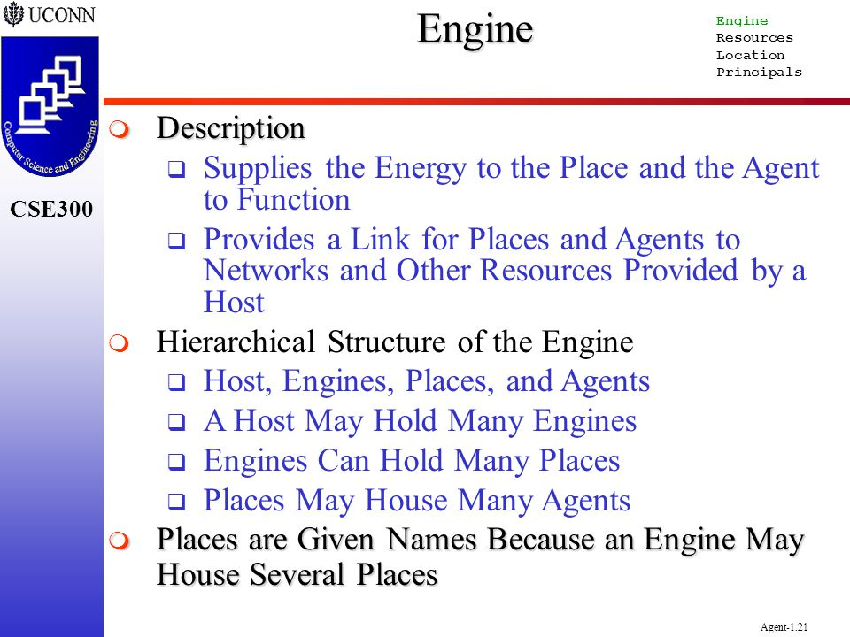 CSE300 Agent-1.21Engine Description Description Supplies the Energy to the Place and the Agent to Function Provides a Link for Places and Agents to Ne