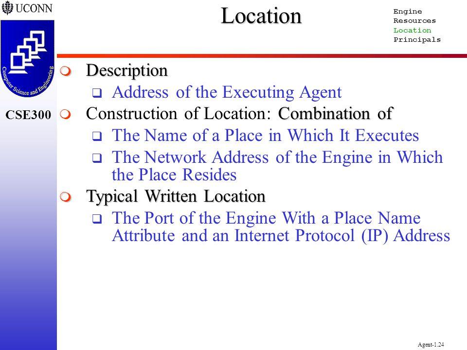 CSE300 Agent-1.24Location Description Description Address of the Executing Agent Combination of Construction of Location: Combination of The Name of a