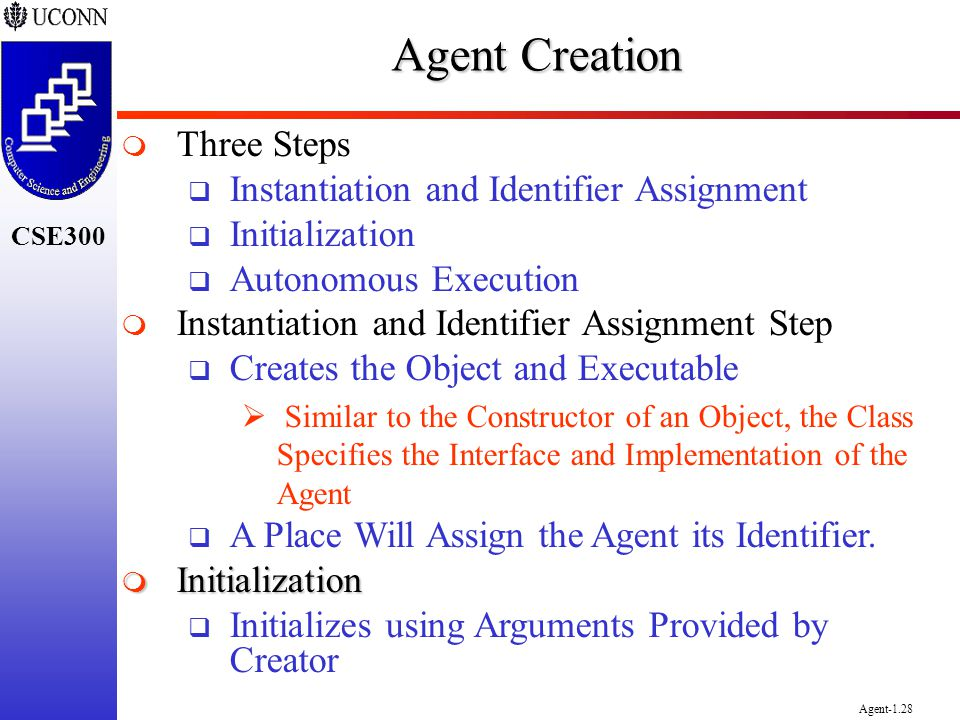 CSE300 Agent-1.28 Agent Creation Three Steps Instantiation and Identifier Assignment Initialization Autonomous Execution Instantiation and Identifier
