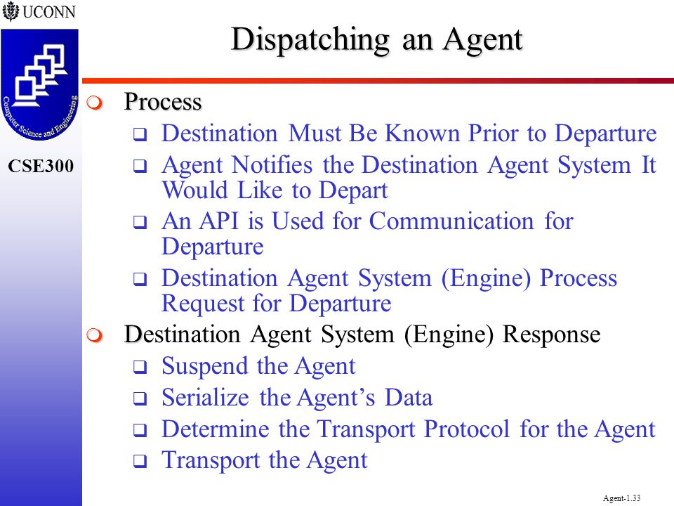 CSE300 Agent-1.33 Dispatching an Agent Process Process Destination Must Be Known Prior to Departure Agent Notifies the Destination Agent System It Wou