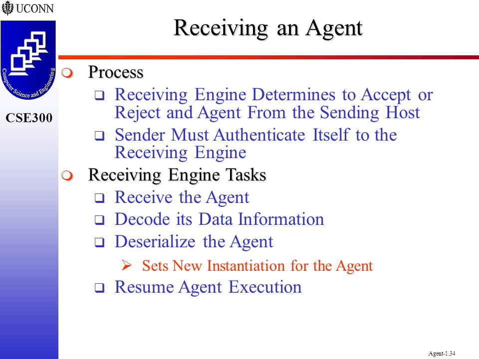 CSE300 Agent-1.34 Receiving an Agent Process Process Receiving Engine Determines to Accept or Reject and Agent From the Sending Host Sender Must Authe