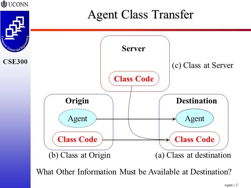 CSE300 Agent-1.37 Agent Class Transfer Agent Class Code DestinationOrigin Class Code Server (c) Class at Server (b) Class at Origin(a) Class at destin