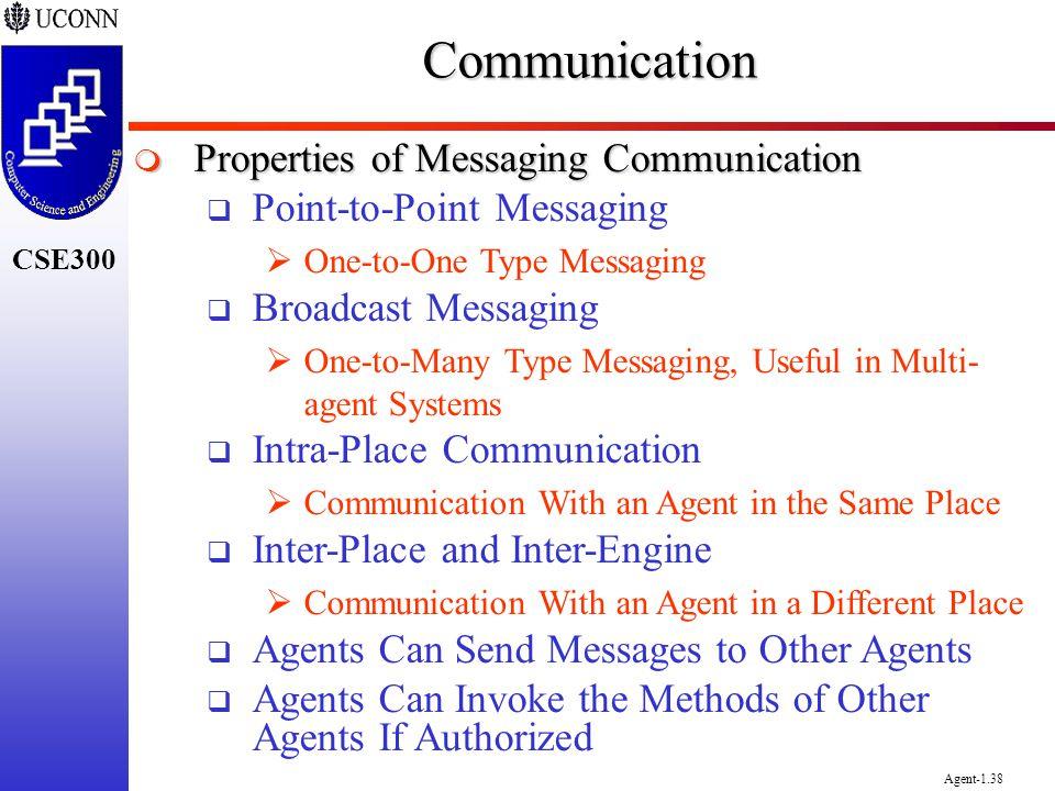 CSE300 Agent-1.38Communication Properties of Messaging Communication Properties of Messaging Communication Point-to-Point Messaging One-to-One Type Me