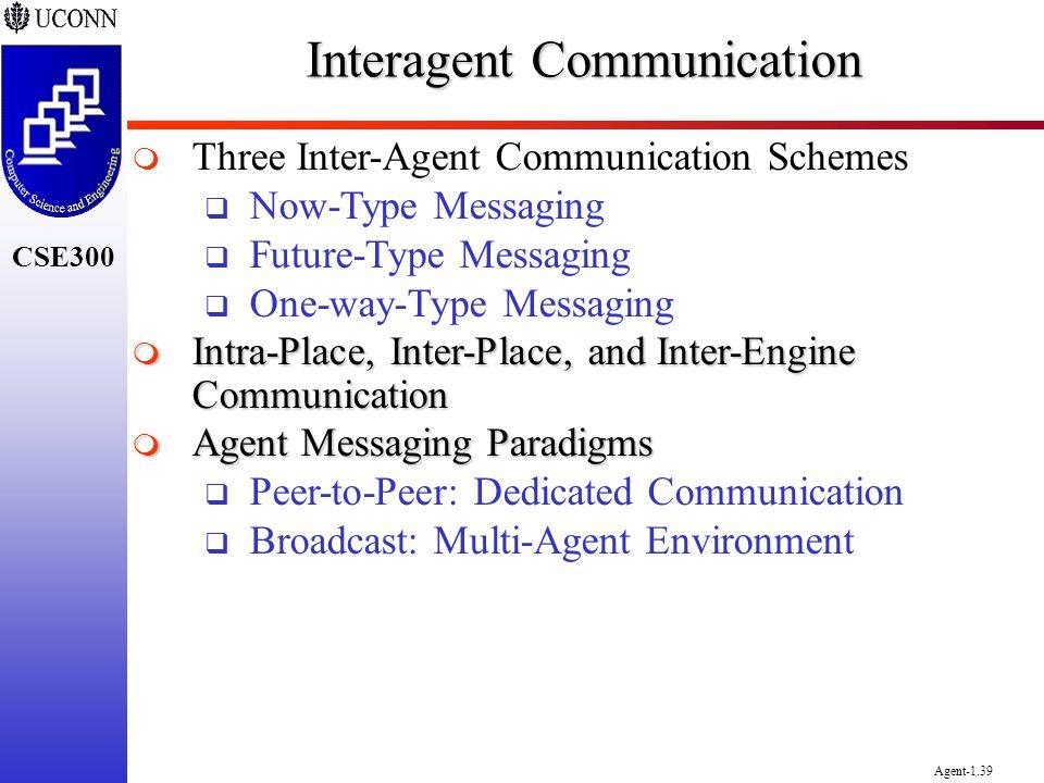CSE300 Agent-1.39 Interagent Communication Three Inter-Agent Communication Schemes Now-Type Messaging Future-Type Messaging One-way-Type Messaging Int