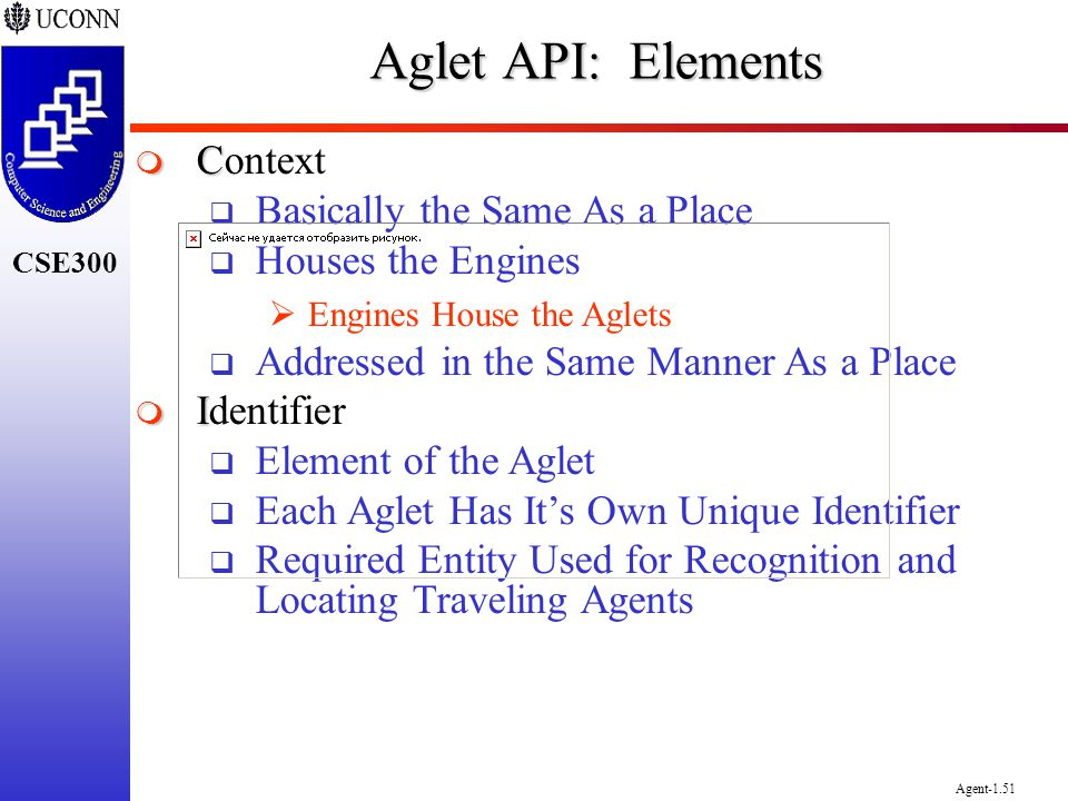 CSE300 Agent-1.51 Aglet API: Elements C Context Basically the Same As a Place Houses the Engines Engines House the Aglets Addressed in the Same Manner