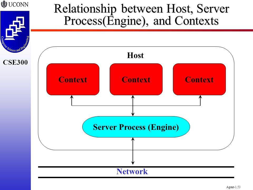 CSE300 Agent-1.53 Relationship between Host, Server Process(Engine), and Contexts Context Host Server Process (Engine) Network