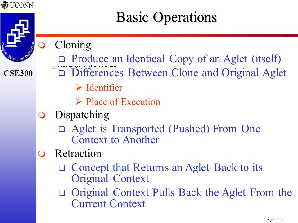 CSE300 Agent-1.55 Basic Operations C Cloning Produce an Identical Copy of an Aglet (itself) Differences Between Clone and Original Aglet Identifier Pl