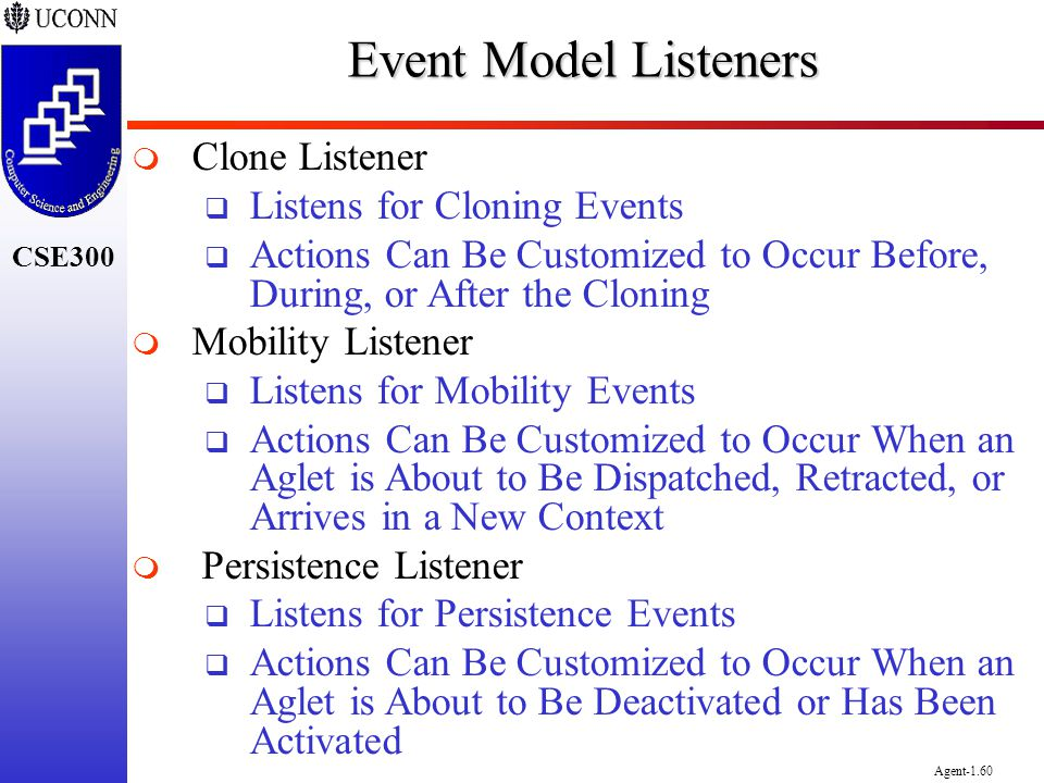 CSE300 Agent-1.60 Event Model Listeners Clone Listener Listens for Cloning Events Actions Can Be Customized to Occur Before, During, or After the Clon