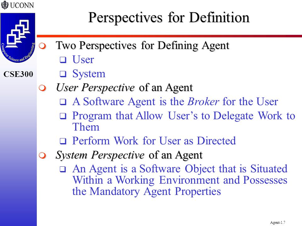 CSE300 Agent-1.7 Perspectives for Definition Two Perspectives for Defining Agent Two Perspectives for Defining Agent User System User Perspective of a