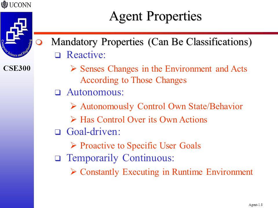 CSE300 Agent-1.8 Agent Properties Mandatory Properties (Can Be Classifications) Mandatory Properties (Can Be Classifications) Reactive: Senses Changes