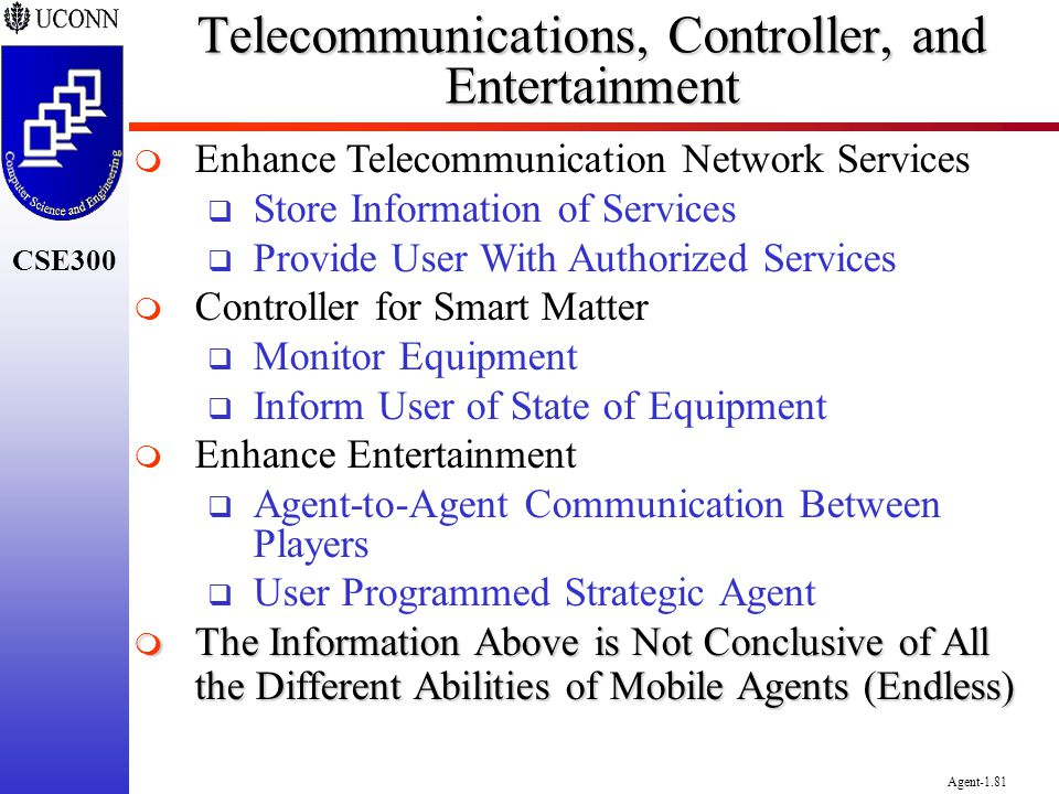 CSE300 Agent-1.81 Telecommunications, Controller, and Entertainment Enhance Telecommunication Network Services Store Information of Services Provide U