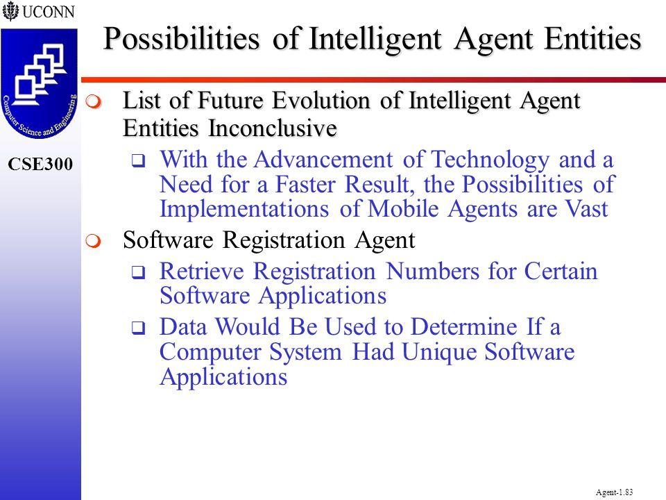 CSE300 Agent-1.83 Possibilities of Intelligent Agent Entities List of Future Evolution of Intelligent Agent Entities Inconclusive List of Future Evolu