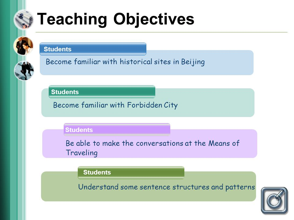 Teaching Objectives Students Become familiar with historical sites in Beijing Be able to make the conversations at the Means of Traveling Become familiar with Forbidden City Students Understand some sentence structures and patterns