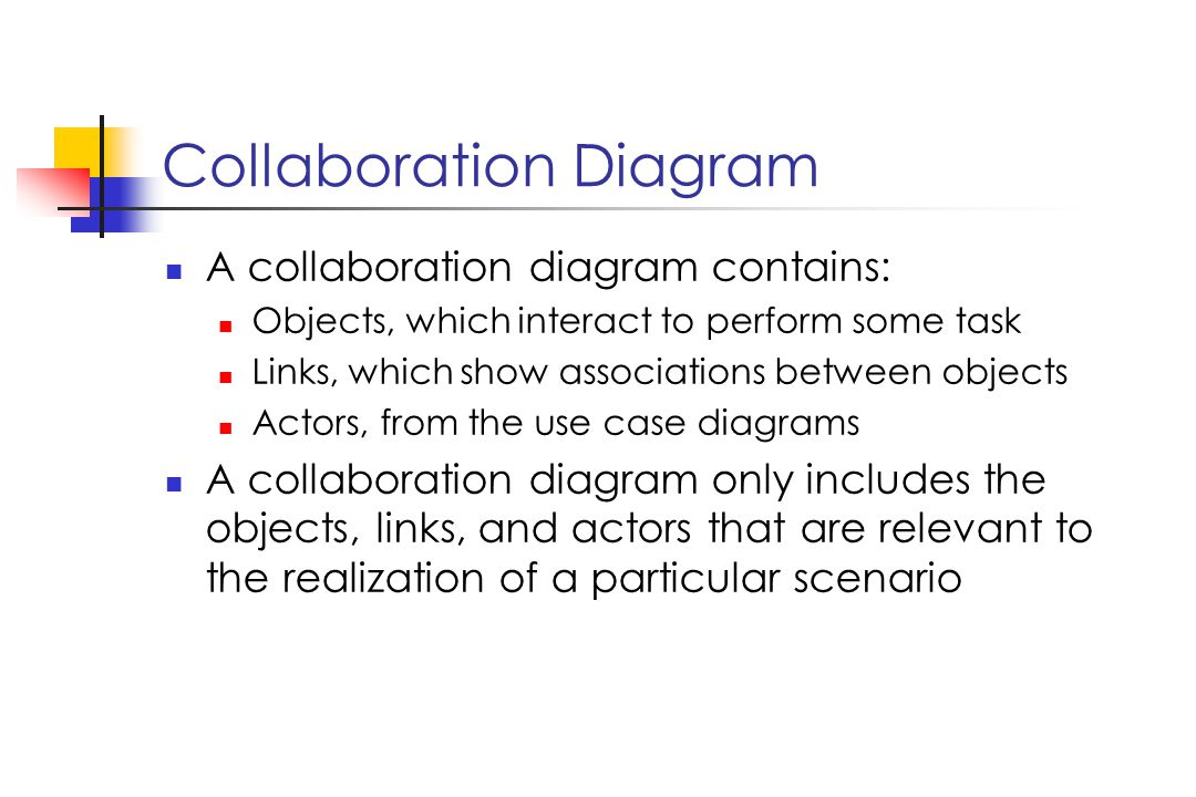 Collaboration Diagram A collaboration diagram contains: Objects, which interact to perform some task Links, which show associations between objects Actors, from the use case diagrams A collaboration diagram only includes the objects, links, and actors that are relevant to the realization of a particular scenario