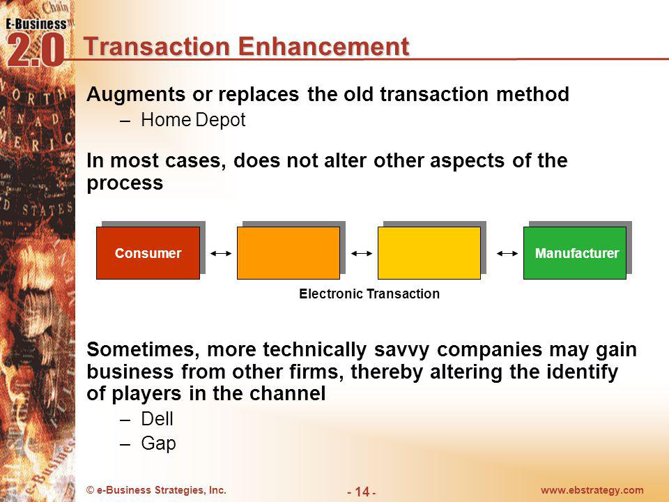 © e-Business Strategies, Inc.www.ebstrategy.com - 14 - Transaction Enhancement Augments or replaces the old transaction method –Home Depot In most cas