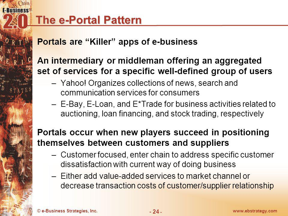 © e-Business Strategies, Inc.www.ebstrategy.com - 24 - The e-Portal Pattern Portals are Killer apps of e-business An intermediary or middleman offerin