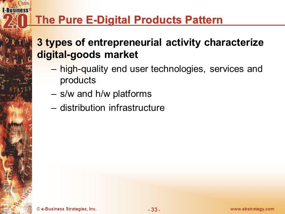© e-Business Strategies, Inc.www.ebstrategy.com - 33 - The Pure E-Digital Products Pattern 3 types of entrepreneurial activity characterize digital-go