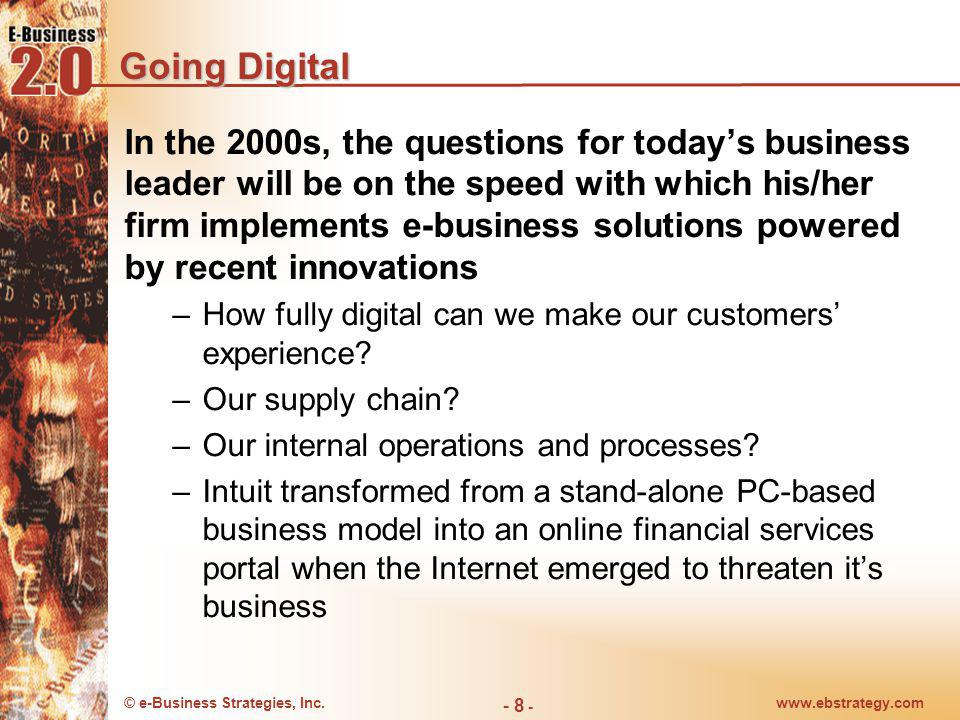 © e-Business Strategies, Inc.www.ebstrategy.com - 9 - Going Digital Startups continue to shape the direction of todays business by taking advantage of recent technological innovations E-Business can change the way companies interact with customers, communicates, sells, purchases, manufactures, and develops products Asking a new question not only produces new answers but also reinvents the game Result: a cost advantage thats not 10 percent better than competitors but rather many fold.