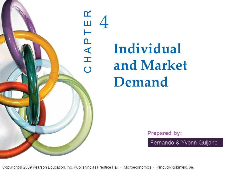 Chapter 4: Individual and Market Demand 2 of 37 Copyright © 2009 Pearson Education, Inc.