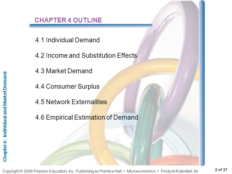 Chapter 4: Individual and Market Demand 2 of 37 Copyright © 2009 Pearson Education, Inc. Publishing as Prentice Hall Microeconomics Pindyck/Rubinfeld,