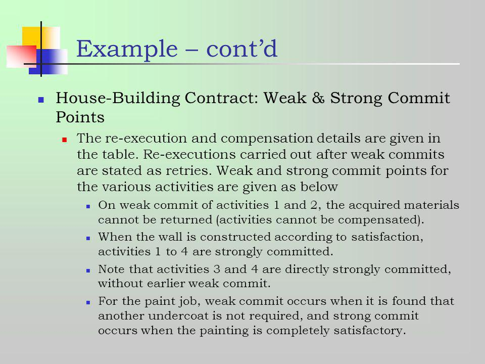 Example – contd House-Building Contract: Weak & Strong Commit Points The re-execution and compensation details are given in the table. Re-executions c