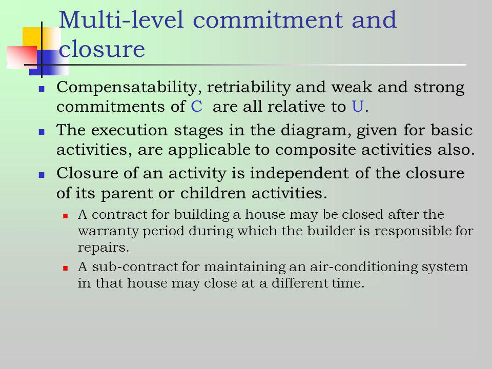 Multi-level commitment and closure Compensatability, retriability and weak and strong commitments of C are all relative to U. The execution stages in