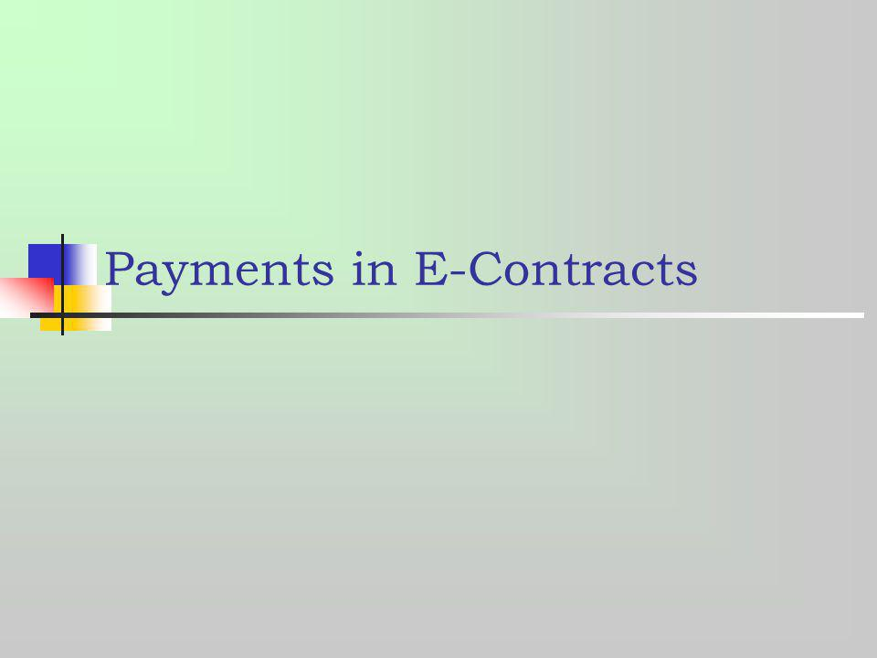 Payments in E-Contracts
