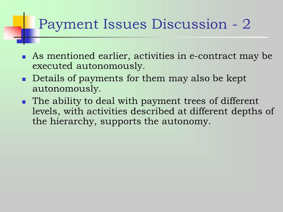 Payment Issues Discussion - 2 As mentioned earlier, activities in e-contract may be executed autonomously. Details of payments for them may also be ke