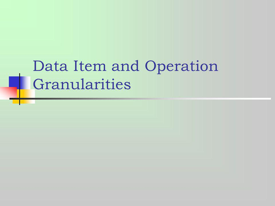 Data Item and Operation Granularities