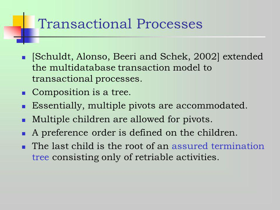 Transactional Processes [Schuldt, Alonso, Beeri and Schek, 2002] extended the multidatabase transaction model to transactional processes. Composition