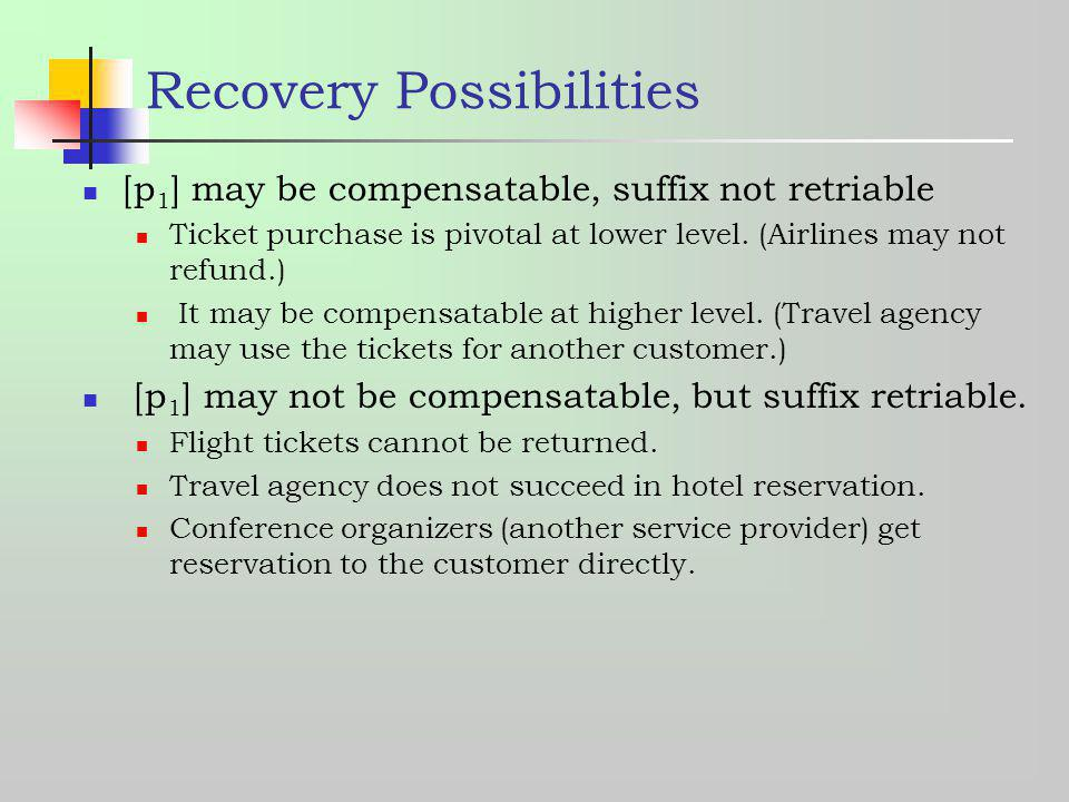 Recovery Possibilities [p 1 ] may be compensatable, suffix not retriable Ticket purchase is pivotal at lower level. (Airlines may not refund.) It may