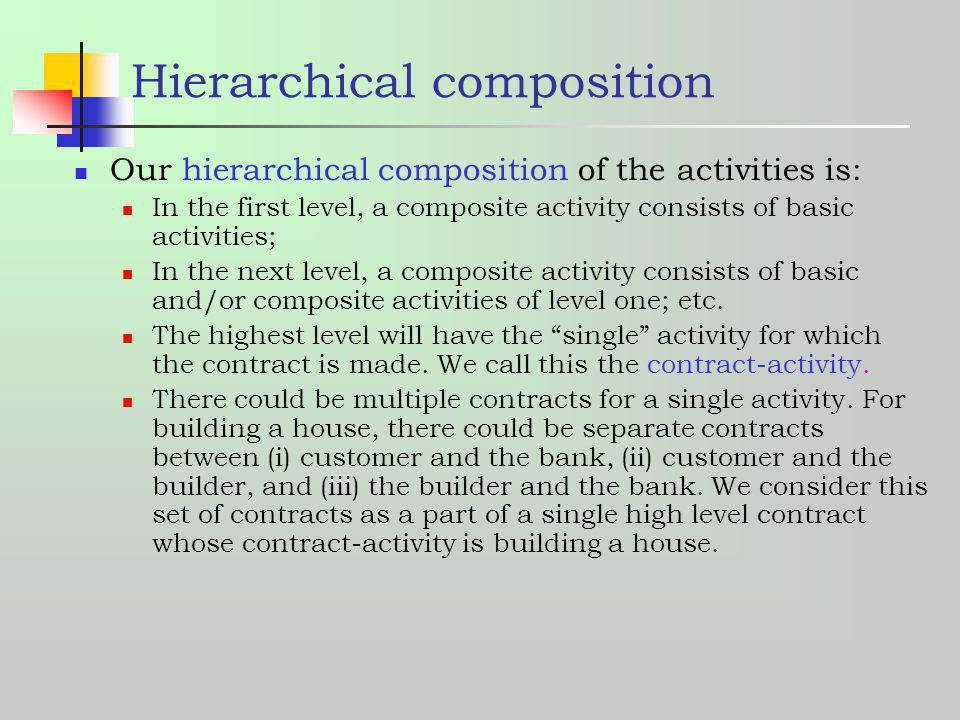 Hierarchical composition Our hierarchical composition of the activities is: In the first level, a composite activity consists of basic activities; In