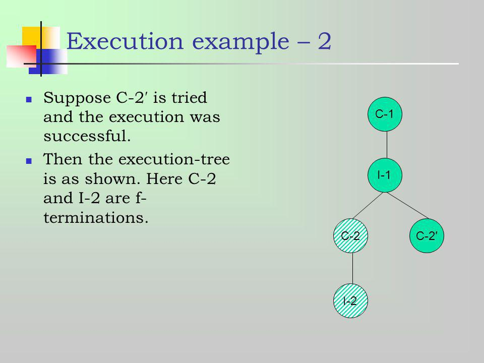 C-1 C-2 I-1 C-2 I-2 Execution example – 2 Suppose C-2 is tried and the execution was successful. Then the execution-tree is as shown. Here C-2 and I-2