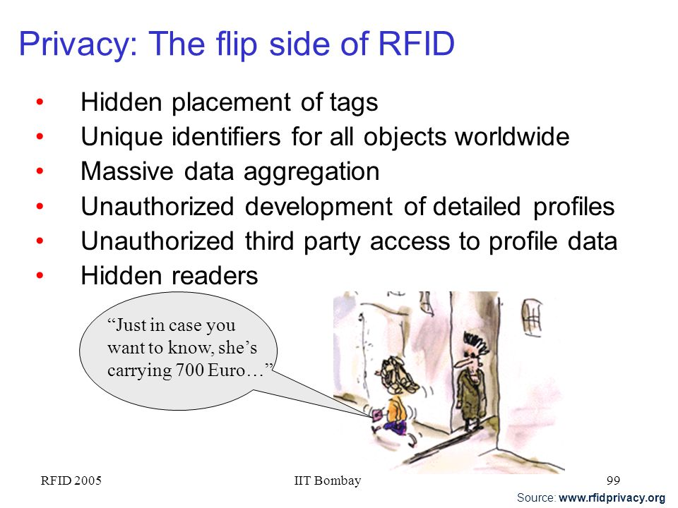 RFID 2005IIT Bombay98 RFID services value chain Hardware Middleware/ Device Mgmt EPC Network Services Data & Information Management Strategy/ Consulti