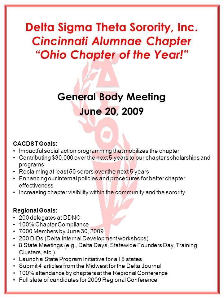 DELTA SIGMA THETA SORORITY, INC.CINCINNATI ALUMNAE 2008 - 2009 2 Ohio Chapter of the Year.
