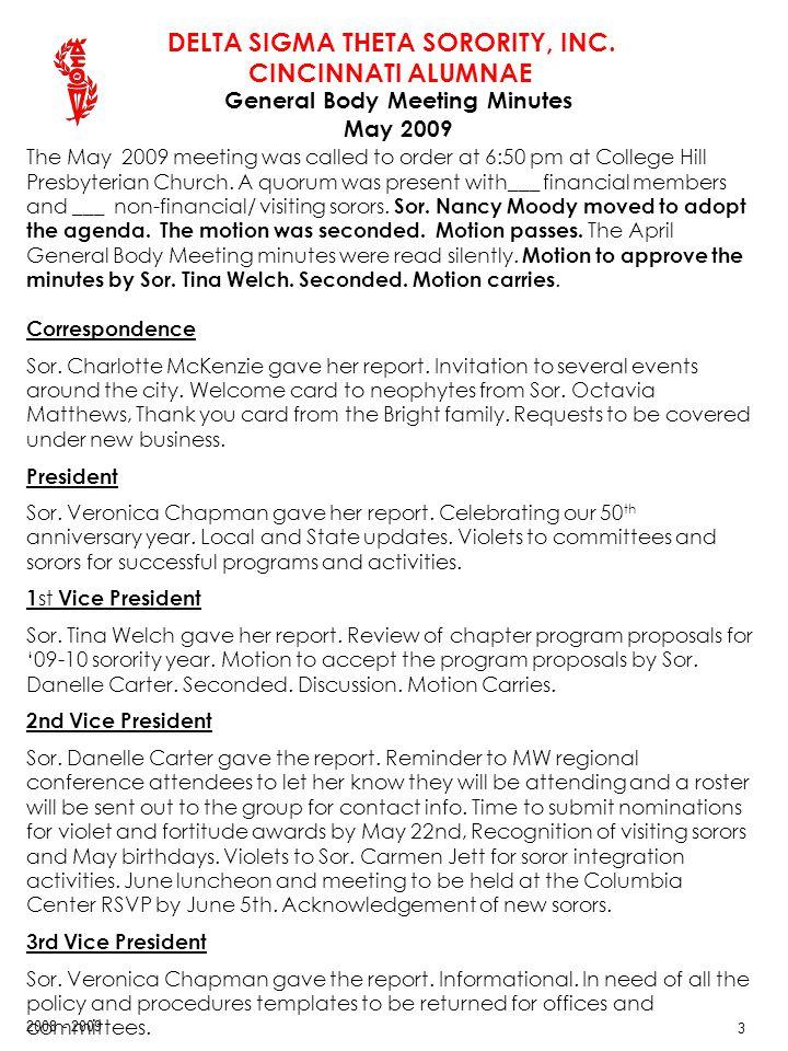 DELTA SIGMA THETA SORORITY, INC. CINCINNATI ALUMNAE 2008 - 2009 24 Treasurers Report ….continued